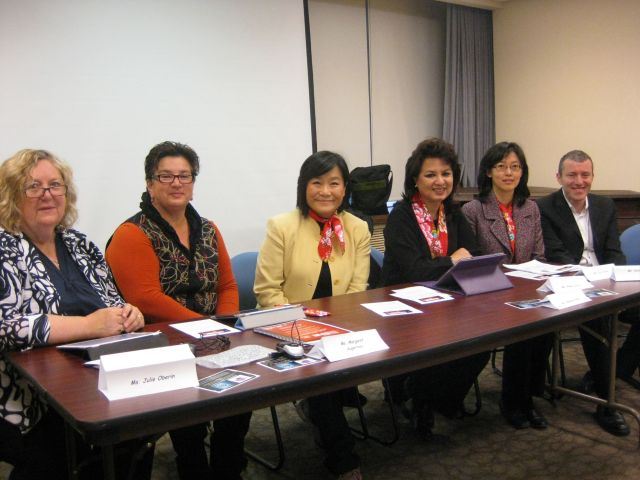 "Speakers at panel ""Asia-Pacific Shelters: Going the Second Mile with Advocacy and Service Work"": from left Julie Oberin, Margaret Augerinos, Zoe Chi, Bandana Rana, Kristen Liu, Anthony Carlisel. (Not pictured: Alena Victor)"